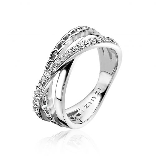 ZINZI-zilveren-cross-over-ring-gourmet-wit-ZIR1360